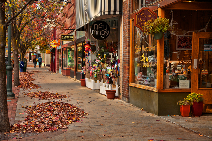 Fall in Traverse City, Michigan along Front Street